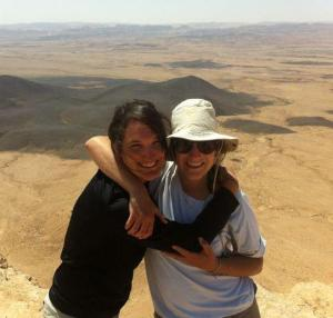 Amalia, left, with Libby, right, as they hiked from the south to the north of Israel, Spring 2013
